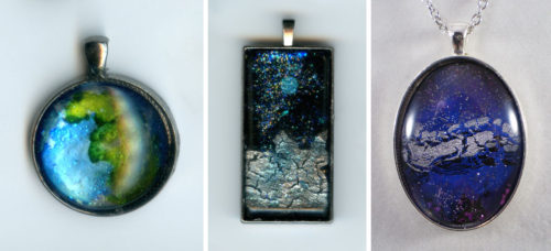 Sparkling Space hand-painted pendants
