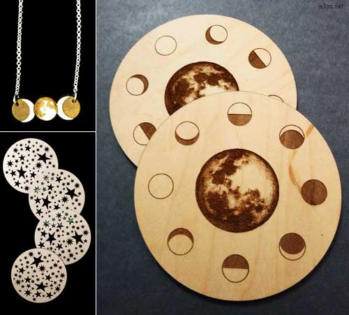 Wood works including moon phase coasters and necklace